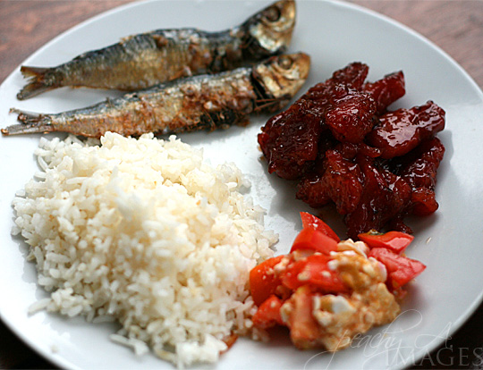 Filipino Breakfast Tuyo Tocino Salted Egg And Tomato