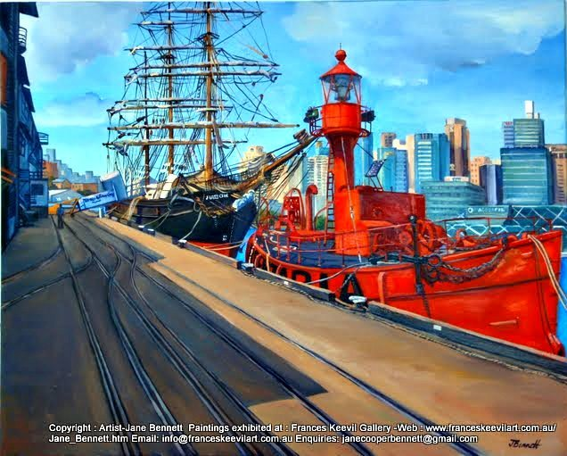 plein air oil painting of the tall ship 'James Craig' and lightship 'Carpentaria' at Wharf 7 Pyrmont by maritime artist Jane Bennett