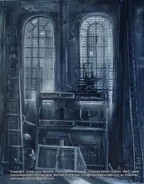 painting of interior of Eveleigh Railway Workshops by industrial heritage artist Jane Bennett