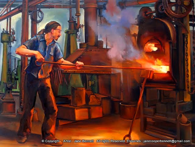 painting by  industrial heritage artist Jane Bennett 'Blacksmith forging '