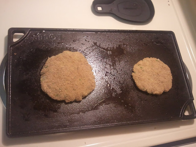 breaded and on griddle