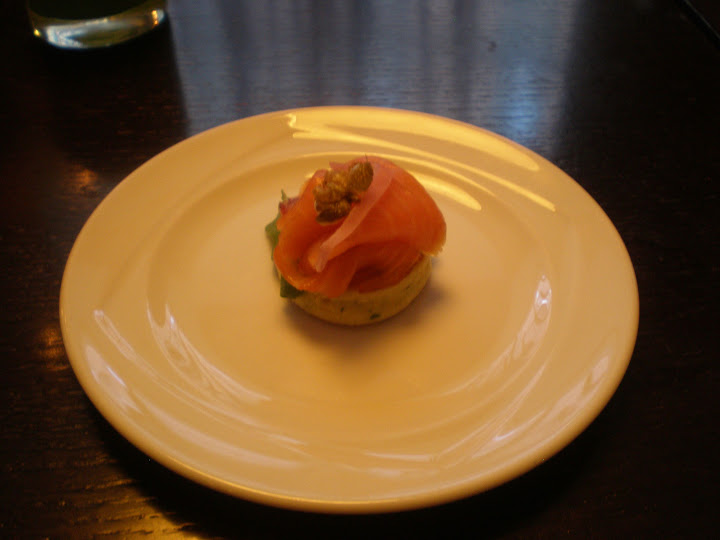 House-smoked salmon on a chive blini