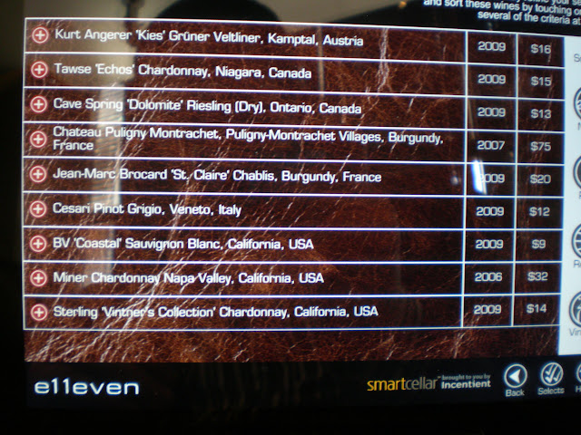 The selection of whites by the glass displayed on the iPad wine list.