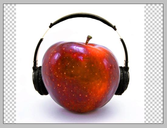 Fone colocado na maçã