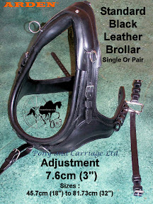 Arden Standard Black Leather Horse Brollars - French Collars