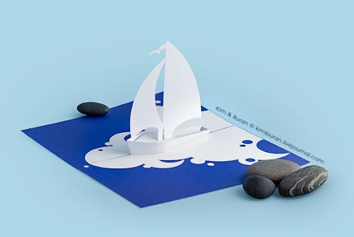 Корабль объемная открытка