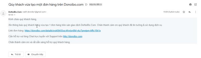 Email thông báo đơn hàng