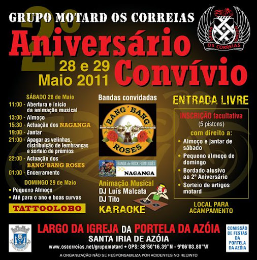 aniversario - Aniversário Convivio do Grupo Motard os Correias GMOC-Cartaz2011-P