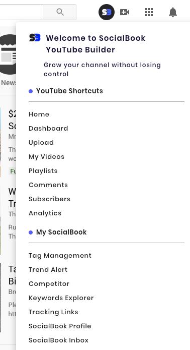 SocialBook Builder menu