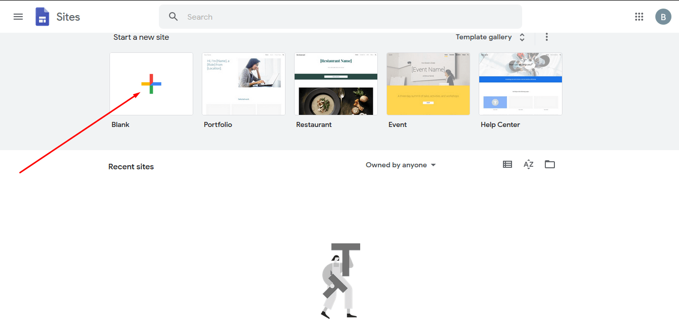 Template Blank di Dashboard Google Sites