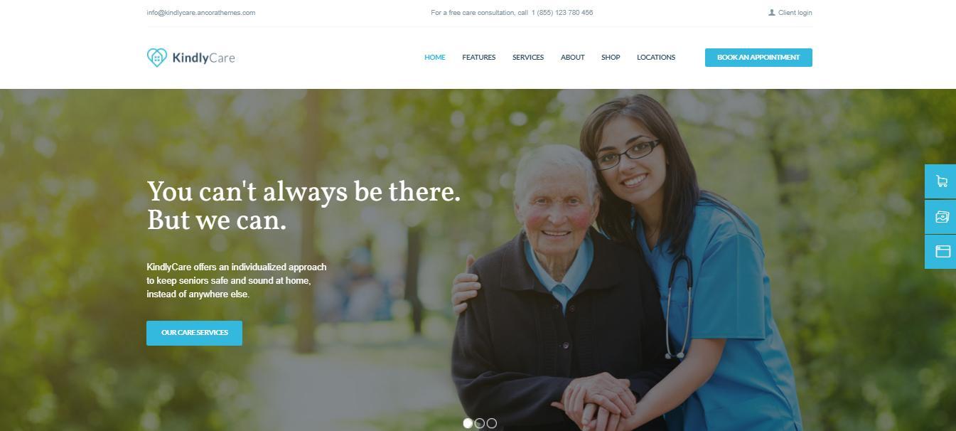 8. Kindly Care elderly care wordpress theme