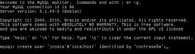 Añadir usuario a MySQL para uso de Joomla, configuración de Joomla para que use un usuario determinado de MySQL