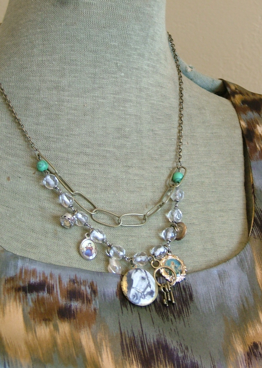 Boho-style top and custom jewelry...