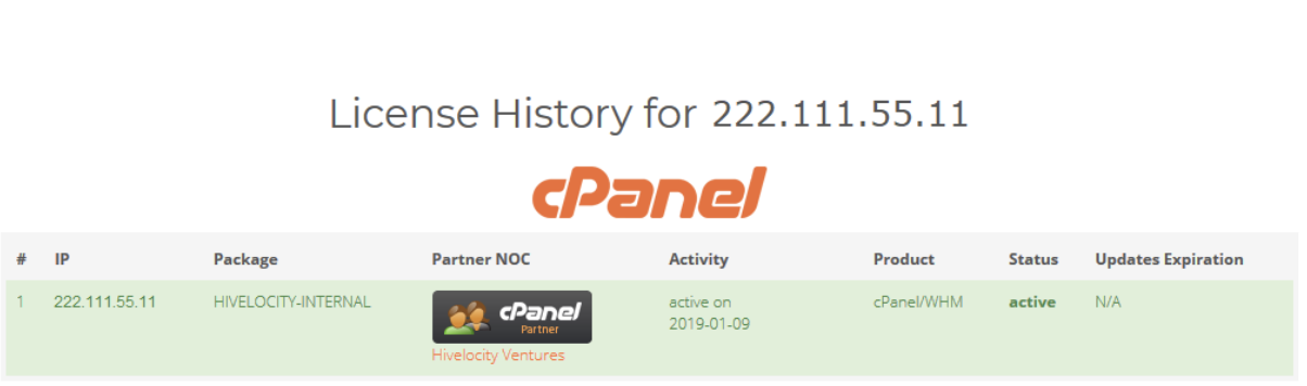 Confirming your servers primary IP address when performing a cpanel license check