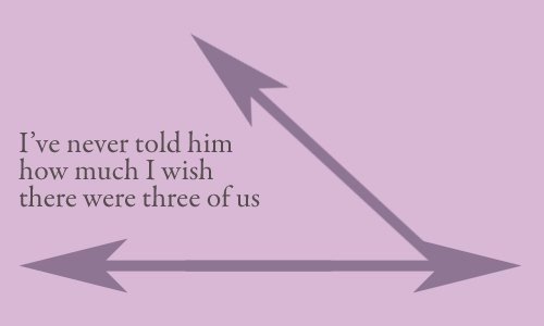 Secret 21 - Image: arrows running along two sides of a triangle; the third side is missing. Text: I've never told him how much I wish there were three of us. Font: serif.