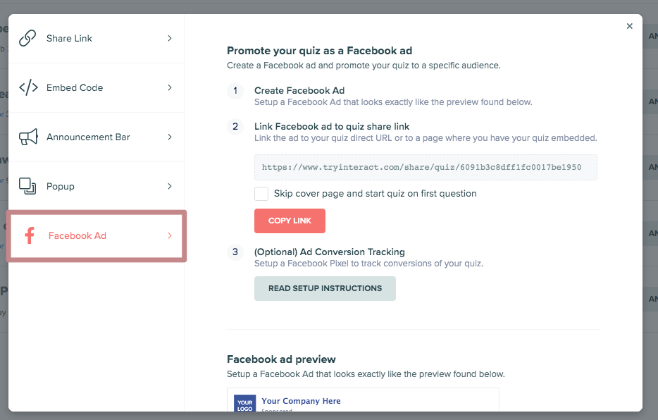 screen with instructions to set up Facebook ad