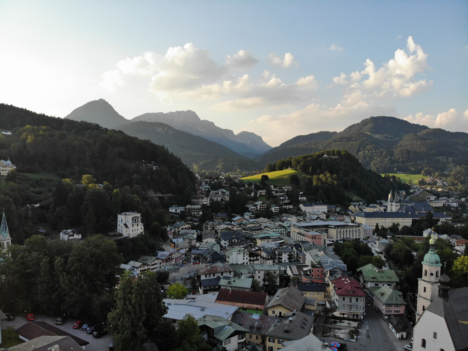Berchtesgaden, Germany - aeirial dron photo of the town and mountains.