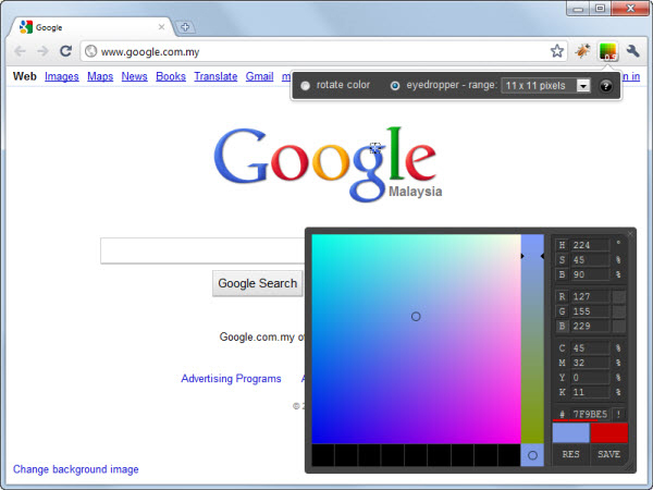ColorPicker Google Chrome