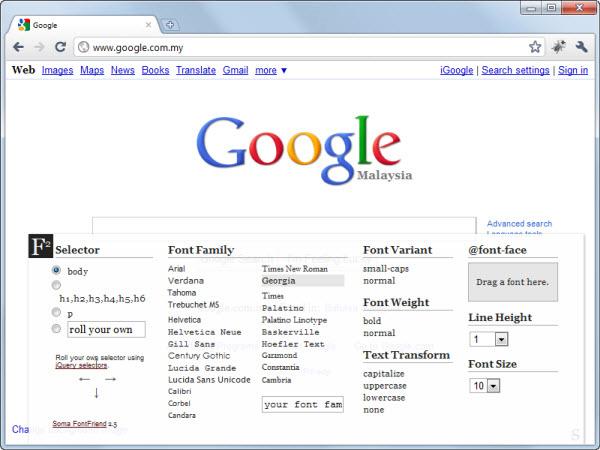 Font Editor Google Chrome