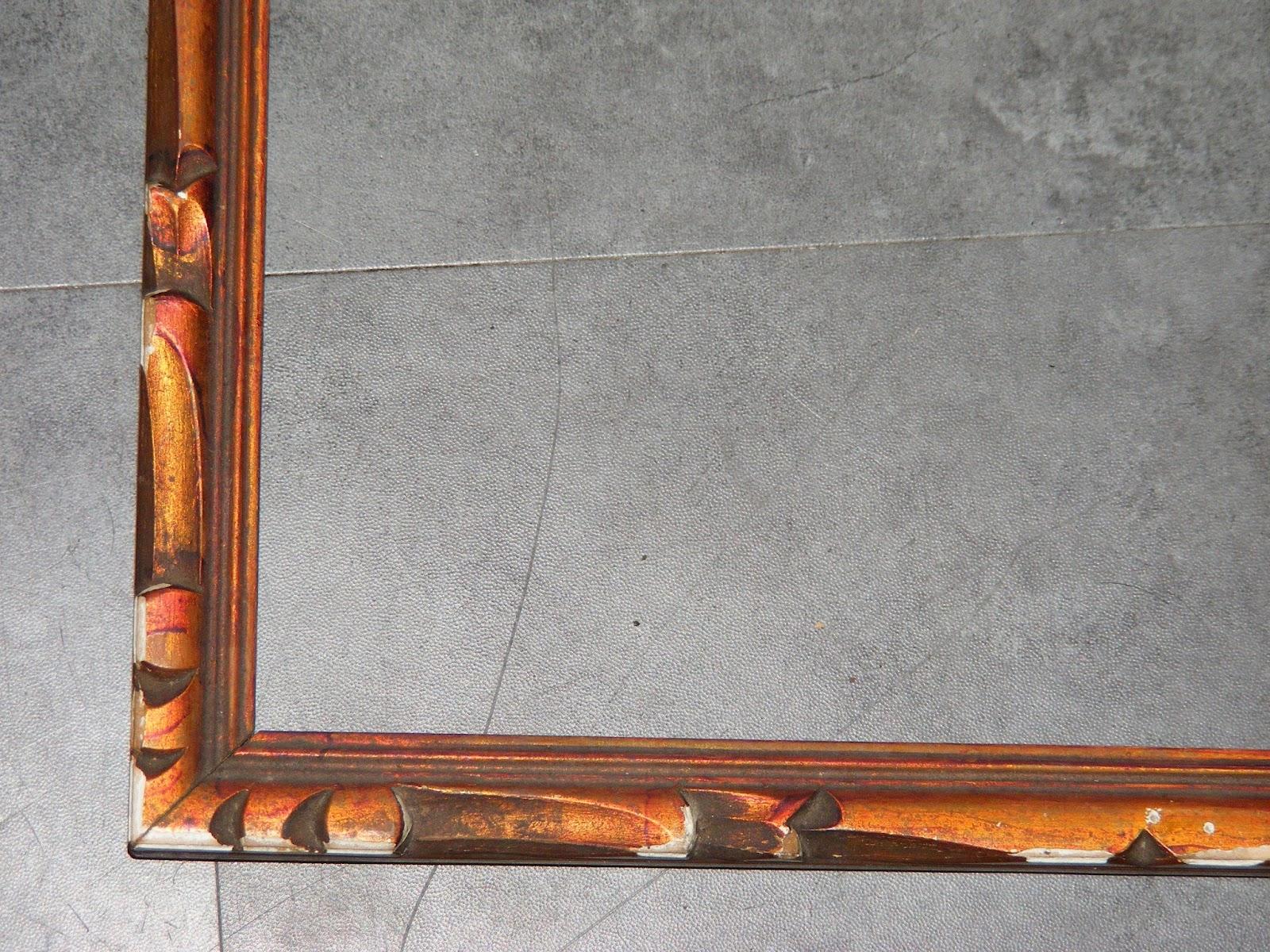 ancien cadre en bois sculpte patine cuivree a restaurer 33cmx43cm cadr160 ebay. Black Bedroom Furniture Sets. Home Design Ideas