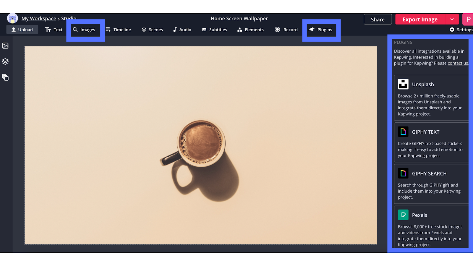 Kapwing Studio Workspace highlighting images and plugins toolbar