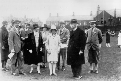 Rachel Parsons with her parents, Sir Charles and Lady Parsons, at a works sports day, circa 1929.