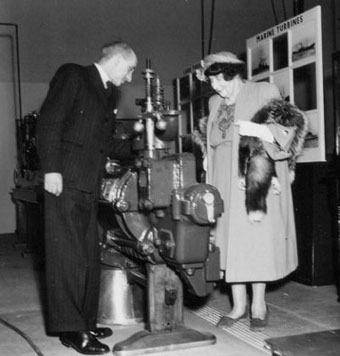 Rachel Parsons with Sir Claude Gibb; Sir Charles Parsons' centenary exhibition at King's College, Newcastle, 1954