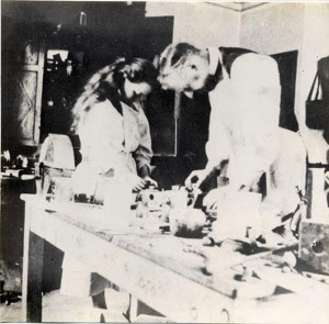 Rachel Parsons with her father, home-workshop, Holeyn Hall. Circa 1898