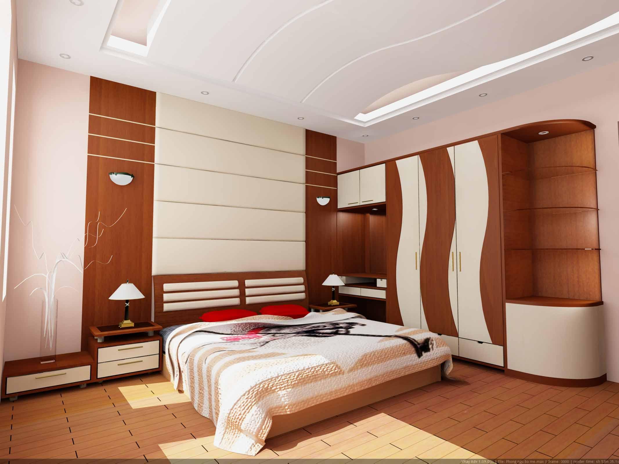 Thiết kế phòng ngủ đẹp và sang trọng với chất liệu gỗ sồi cao cấp.
