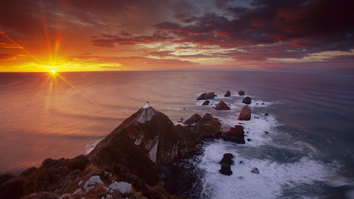 Nugget Point Lighthouse at Sunrise, South Island, New Zealand.jpg