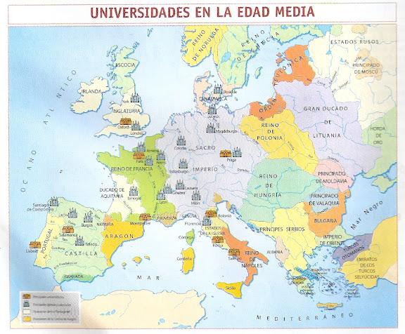 MAPA DE LAS UNIVERSIDADES DE LA EDAD MEDIA