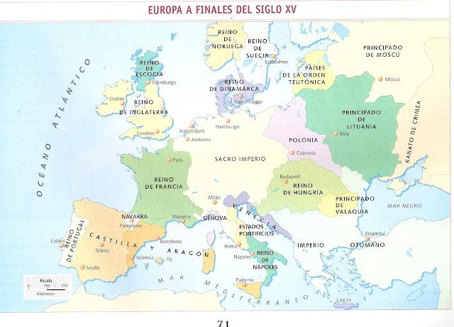 MAPA DE EUROPA A FINALES DEL SIGLO XV