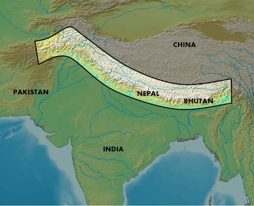 map of himalayas. Himalayas map courtesy of