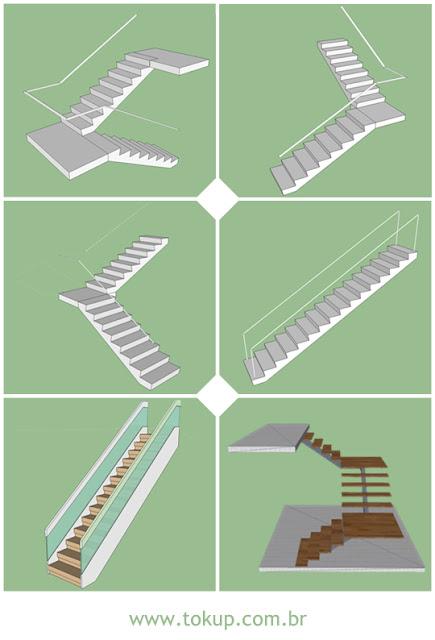 Pacote com 6 blocos escadas básicas - Componentes Google Sketchup