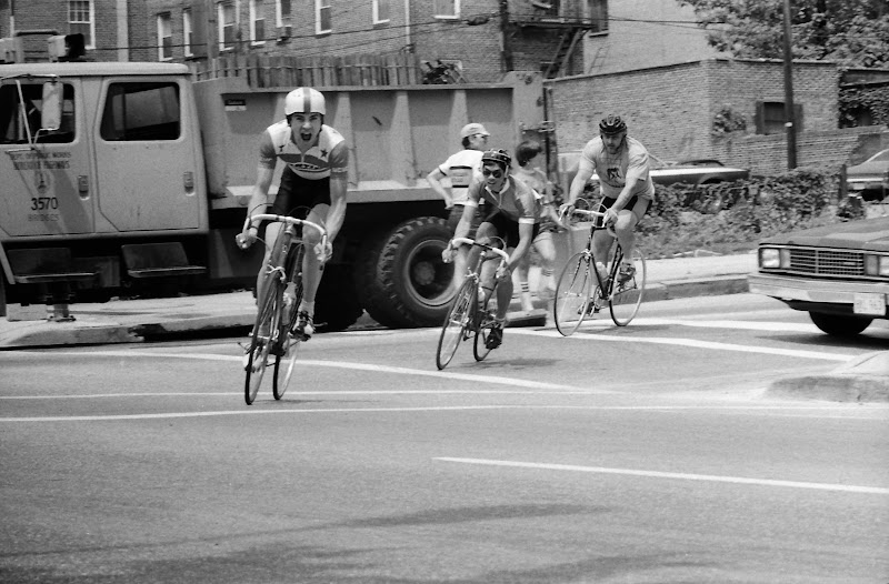 Shawn Downing (left) and Pat Liu, (Charles Street Classic?) criterium at Mt Vernon Sq, Baltimore, 1983?