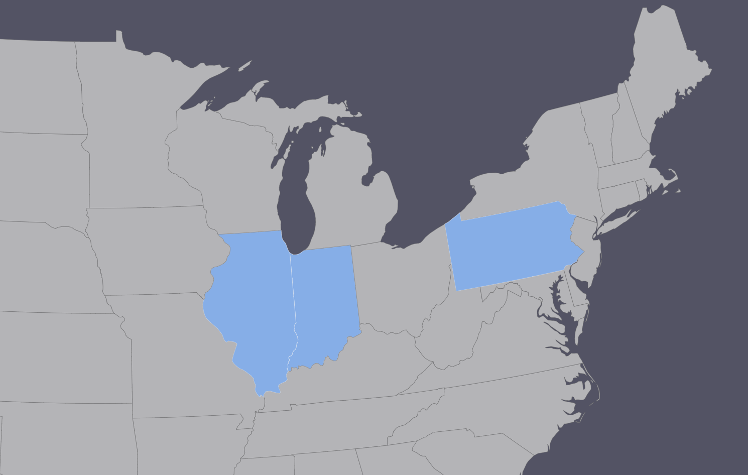 A map of the USA highlighting only Illinois and Indiana, which are adjacent states, but also Pennsylvania.  https://www.amcharts.com/visited_states/#US-IL,US-IN,US-PA