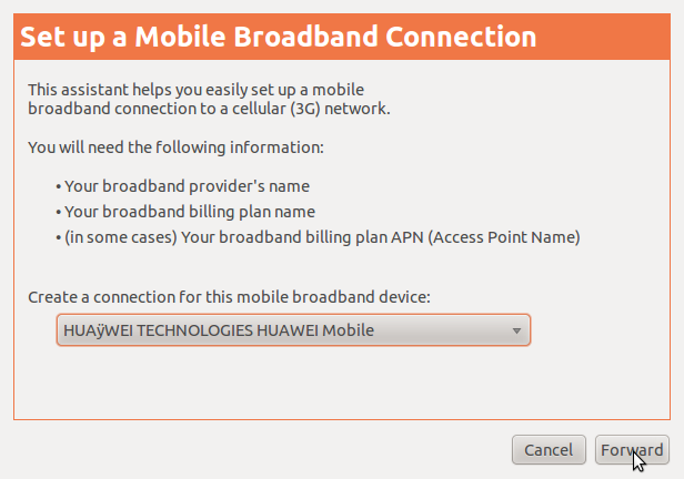Add New Mobile Broadband Connection
