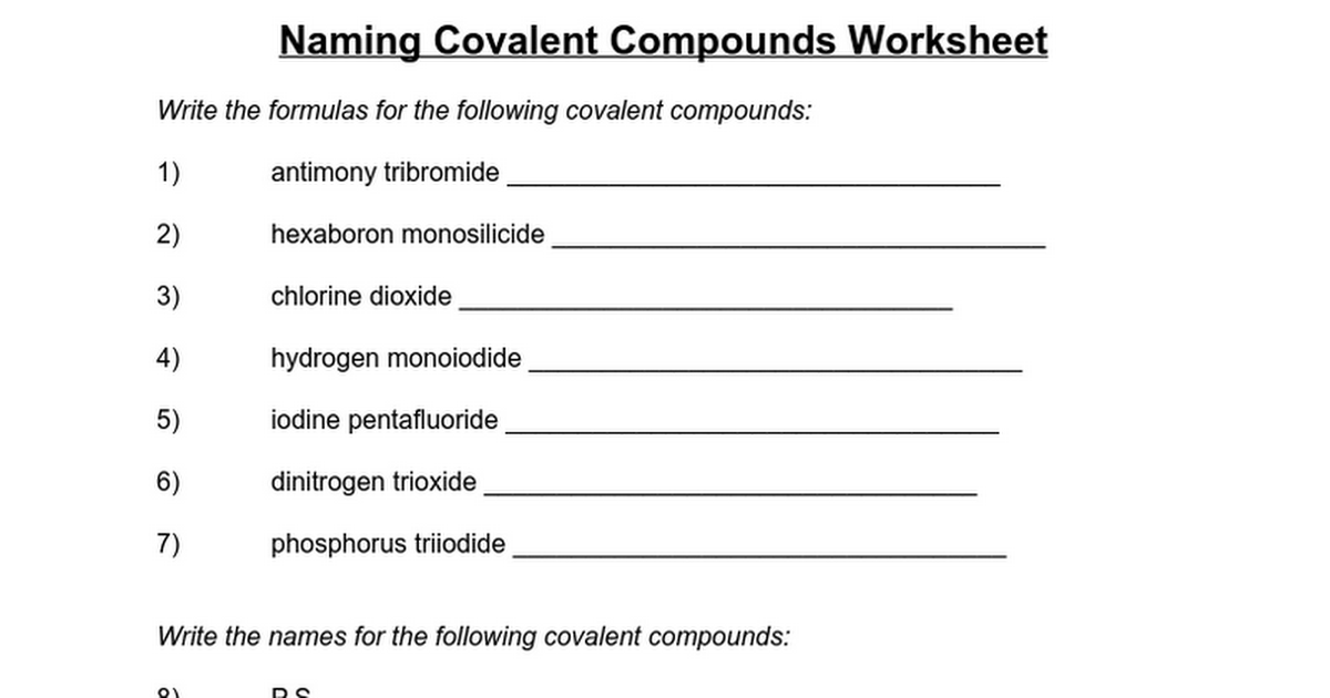 Naming Covalent Compounds Worksheet - Google Docs