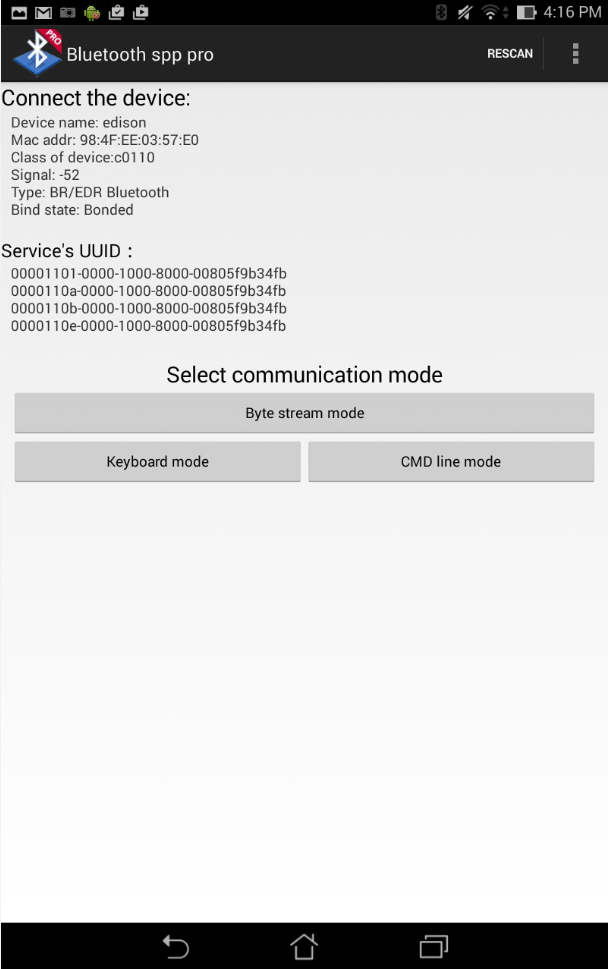 Connecting the Intel Edison board to your Android Phone with