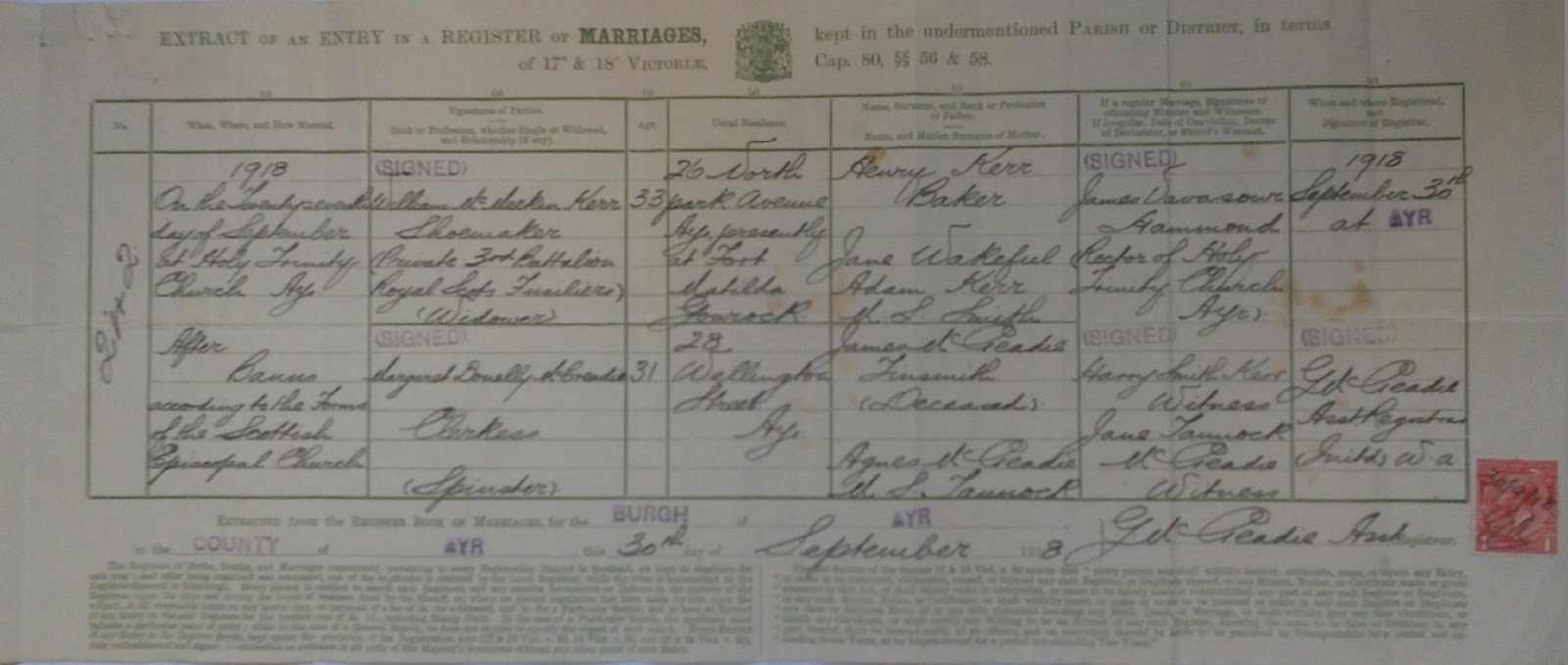 C:\Users\Main user\Pictures\Kerr Certificates\William Kerr and Margaret McCreadie Marriage Certificate.JPG