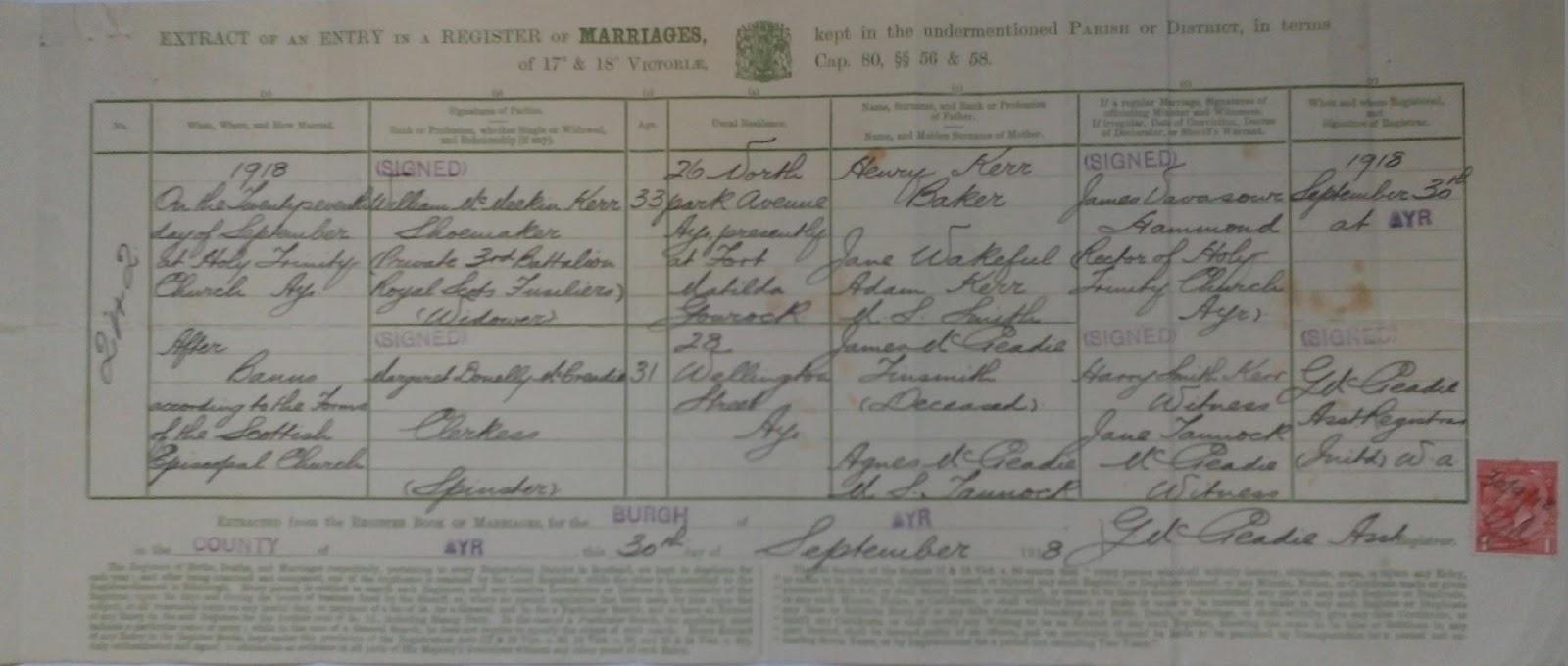 C:\Users\Main user\Pictures\Kerr Certificates\William Kerr and Margaret McCreadie Marriage Certificate.JPG