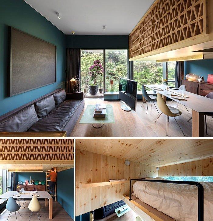 Giường ngủ vớihoa văn gỗ bao quanhkhiến căn hộ mang nét nghệ thuật hiện đại