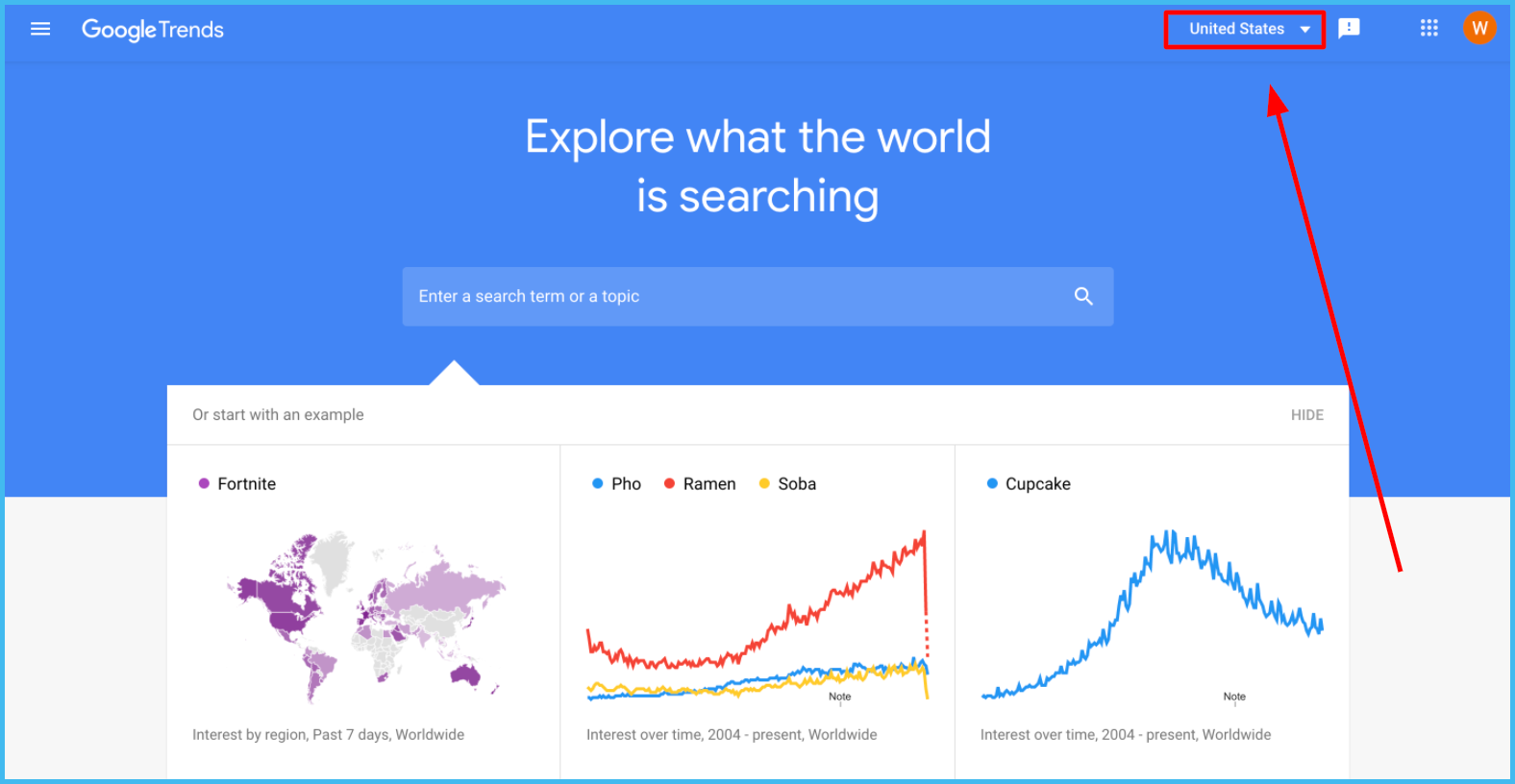 google trends home page