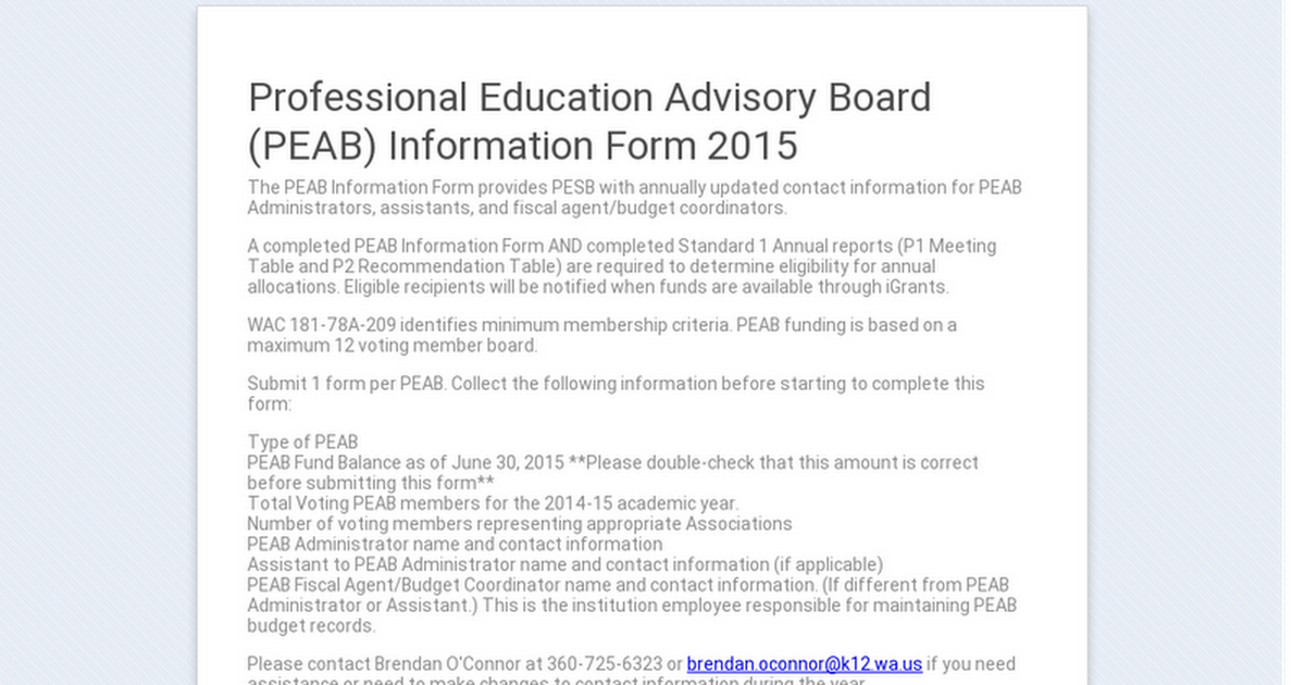 Professional Education Advisory Board Peab Information Form 2015