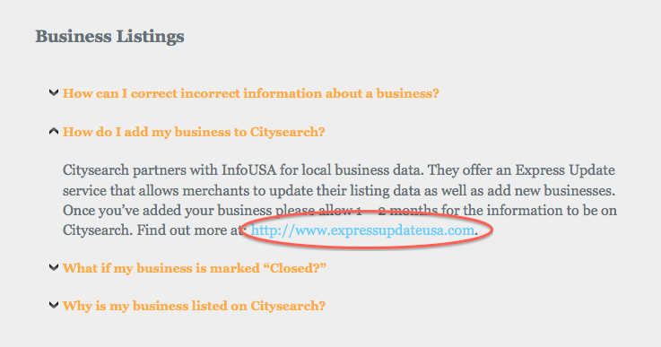 business listing faq ciysearch
