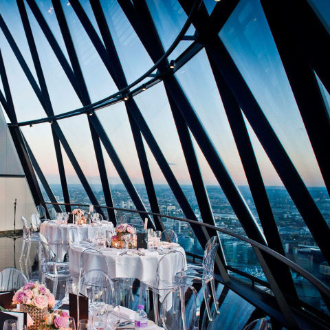 Where: LondonUSP: Get married at the top of one of London's most famous skyscrapers, where you and your guests can have the run of the top two floors.Bonus points: 360-degree views of London.Price: £5,000 + VAT  Visit 30stmaryaxe.com Picture courtesy of Searcys