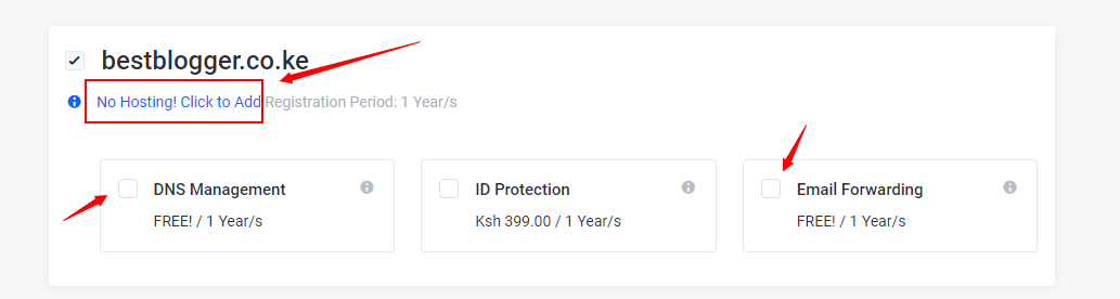 how to add hosting plan when starting a website in Kenya