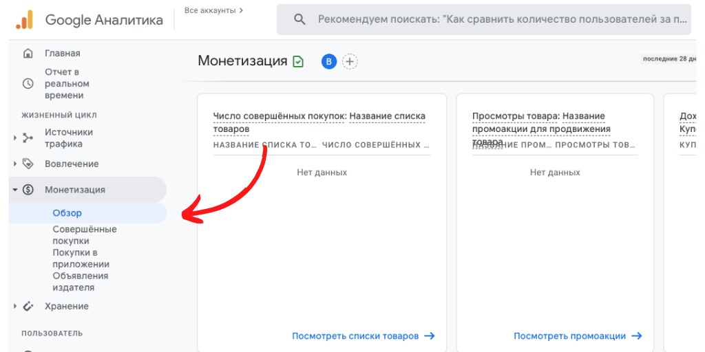 Электронная коммерция Google Analytics