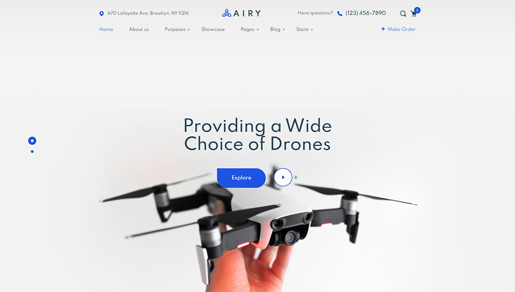 Best HTML5 eCommerce Template: Airy Drones Store HTML Template