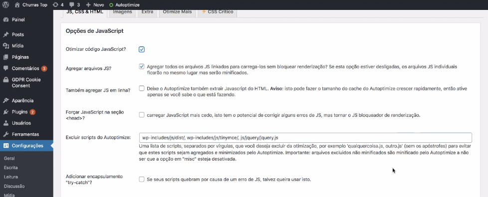 opções de javascript no plugin autoptimize